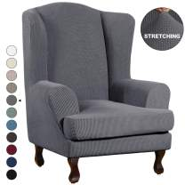 Turquoize Stretch Wing Chair Slipcover Wingback Armchair Chair Sofa Cover Furniture Protector 2-Piece with Elastic Bottom Anti-Slip Foam Kids Jacquard Fabric Small Checks (Wing Chair, Grey)