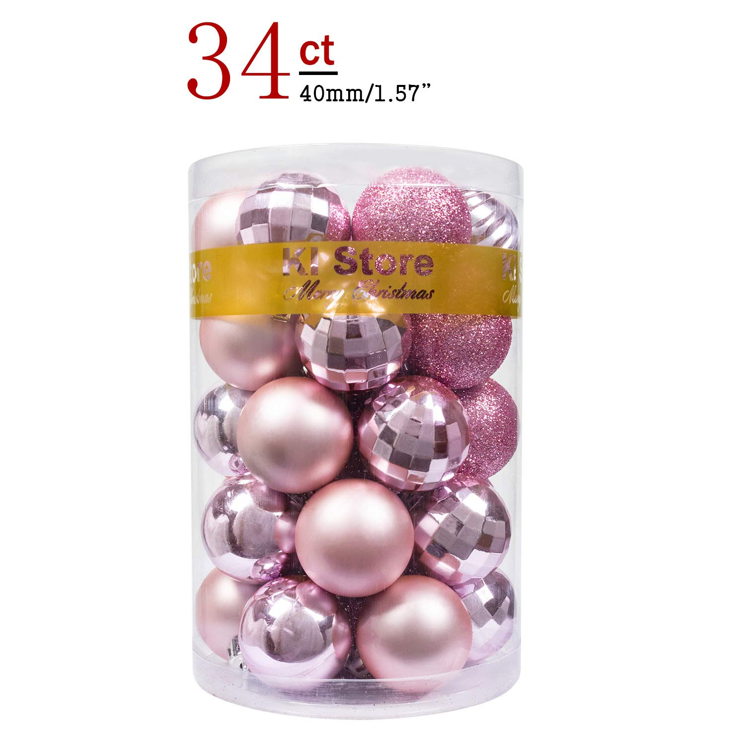 """KI Store 34ct Christmas Ball Ornaments Shatterproof Christmas Decorations Tree Balls Small for Holiday Wedding Party Decoration, Tree Ornaments Hooks Included 1.57"""" (40mm Pink)"""