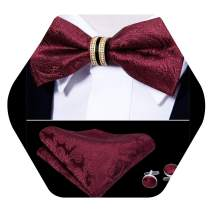 YOHOWA Mens Bow Tie and Pocket Square Set Pretied Bow Tie with Gold Drilled Ring Luxury Box