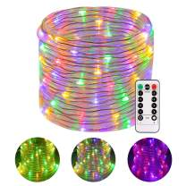 LED Rope Lights, GreenClick 120 LEDs LED Battery String Lights 46Ft with 8 Mode Remote Timer, Waterproof Decoration Lighting for Indoor Outdoor Christmas Garden Party Wedding Holiday