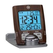 Marathon CL030023WD Travel Alarm Clock with Calendar & Temperature - Battery Included