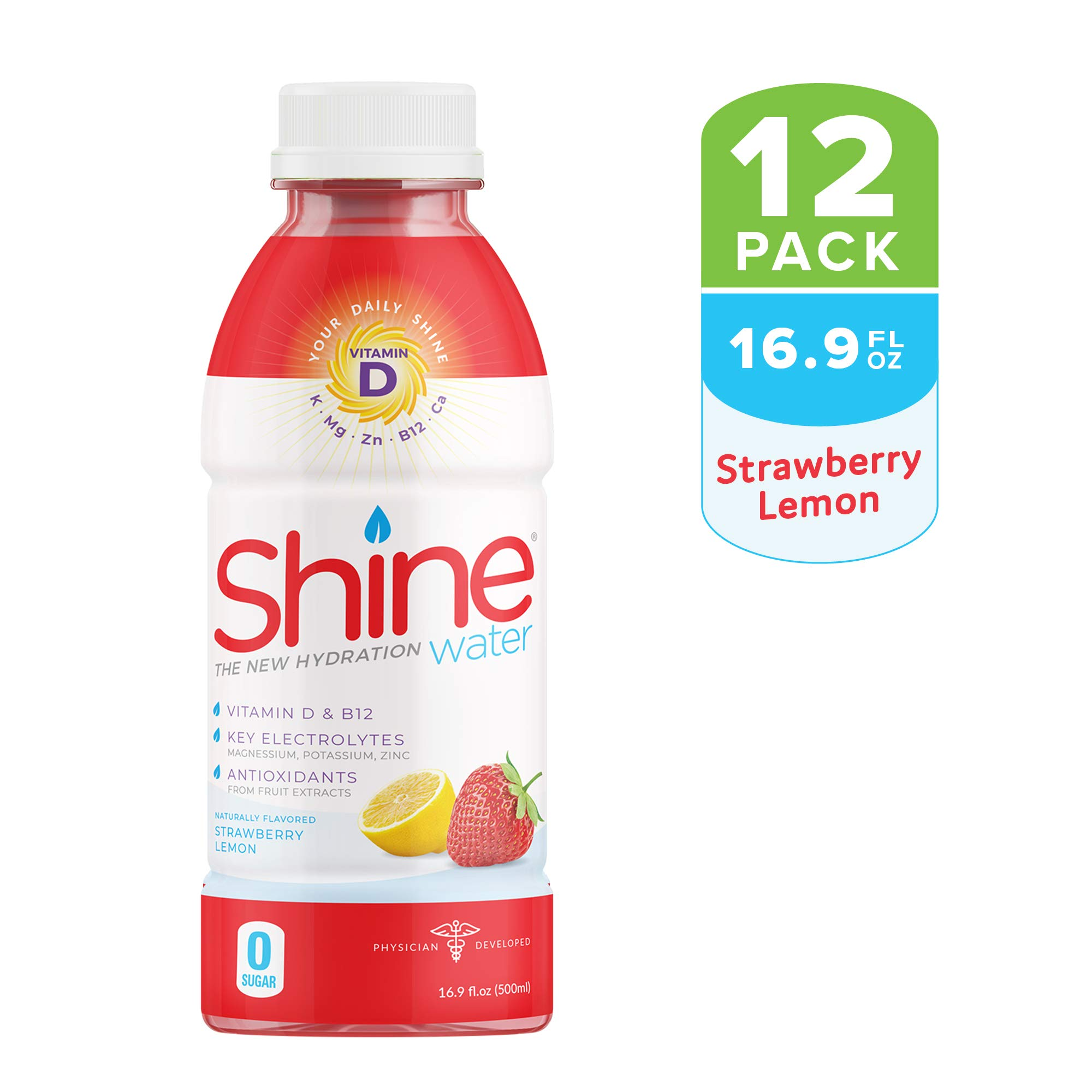 """Shine Water """"The New Hydration"""" Vitamin D + Electrolyte + Antioxidant Water, Zero Sugar, Naturally Flavored, Made in The USA! 16.9oz. BPA Free Bottle (12 Pack) (STRAWBERRY LEMON)"""
