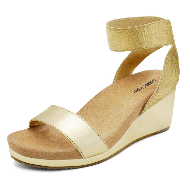 DREAM PAIRS Women's Open Toe Elastic Ankle Strap Platform Wedge Sandals