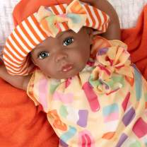 Paradise Galleries African American Black Reborn Baby Boy Doll, Creamsicle Cutie, 16 inches, Weighted Body, 8-Piece Doll Set