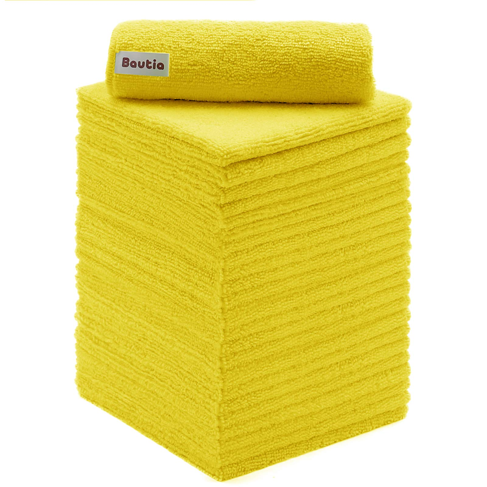 """Bautia Microfiber Cleaning Rags for Housekeeping, Microfiber Cleaning Cloth 24 Pack, Microfiber Cleaning Towels Rags for Cleaning House Kitchen Bathroom Car 12.6""""x12.6"""" Yellow"""