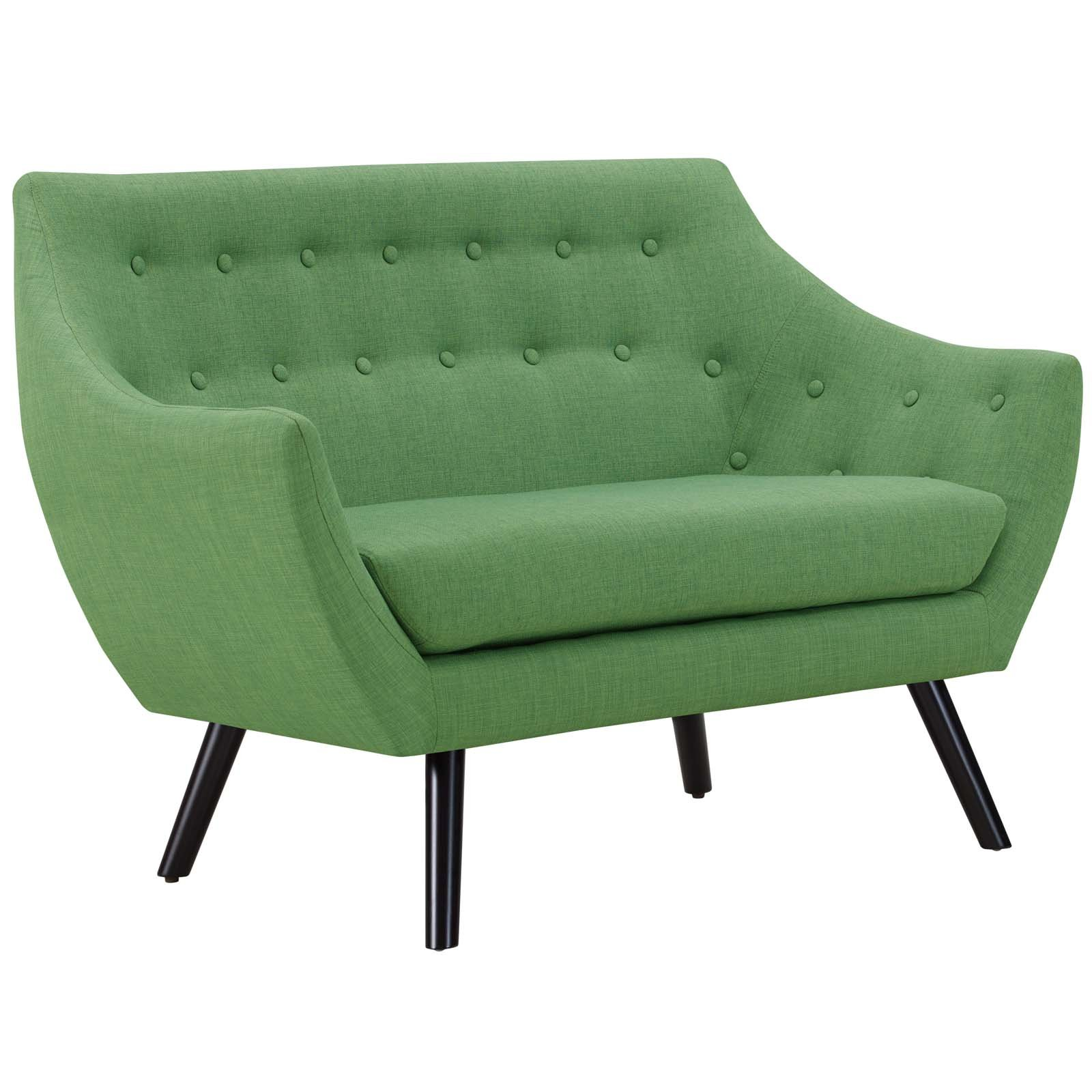Modway Allegory Mid-Century Modern Upholstered Loveseat in Green