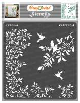 CrafTreat Leaves and Branches Stencils for Painting on Wood, Canvas, Paper, Fabric, Floor, Wall and Tile - Leaves and Branch Stencil - 6x6 Inches - Reusable DIY Art and Craft Stencils