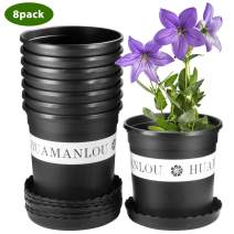 Pots for Plants, ZOUTOG 1.5 Gallon Flower Pots, Nursery Pots with Drainage Hole and Tray, Pack of 8, Plants not Included.