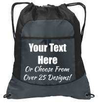 Personalized Monogrammed Cinch Bag with Custom Text, Pocket Drawstring Bag with Customizable Design (Black/Deep Smoke)