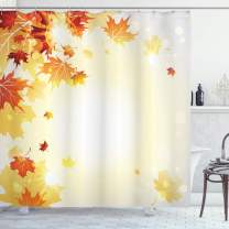 """Ambesonne Autumn Shower Curtain, Fall Season Composition with Flying Dried Maple Tree Foliage, Cloth Fabric Bathroom Decor Set with Hooks, 70"""" Long, Mustard Orange"""