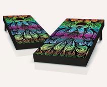 Tailgating Pros Rainbow Swirl Cornhole Boards with Set of 8 Cornhole Bags