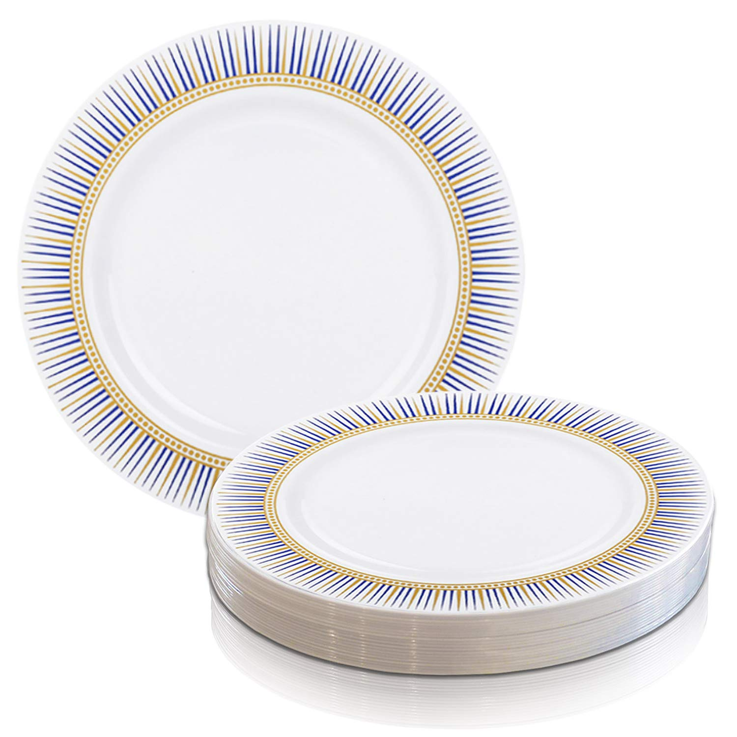 Elegant Disposable Plastic Dinner Plates 120 Pcs - Heavy Duty Round White with Blue & Gold Rim Dinner Plates - Reusable Bulk Party Supplies For Wedding, Easter, Thanksgiving, Birthday & All Occasions