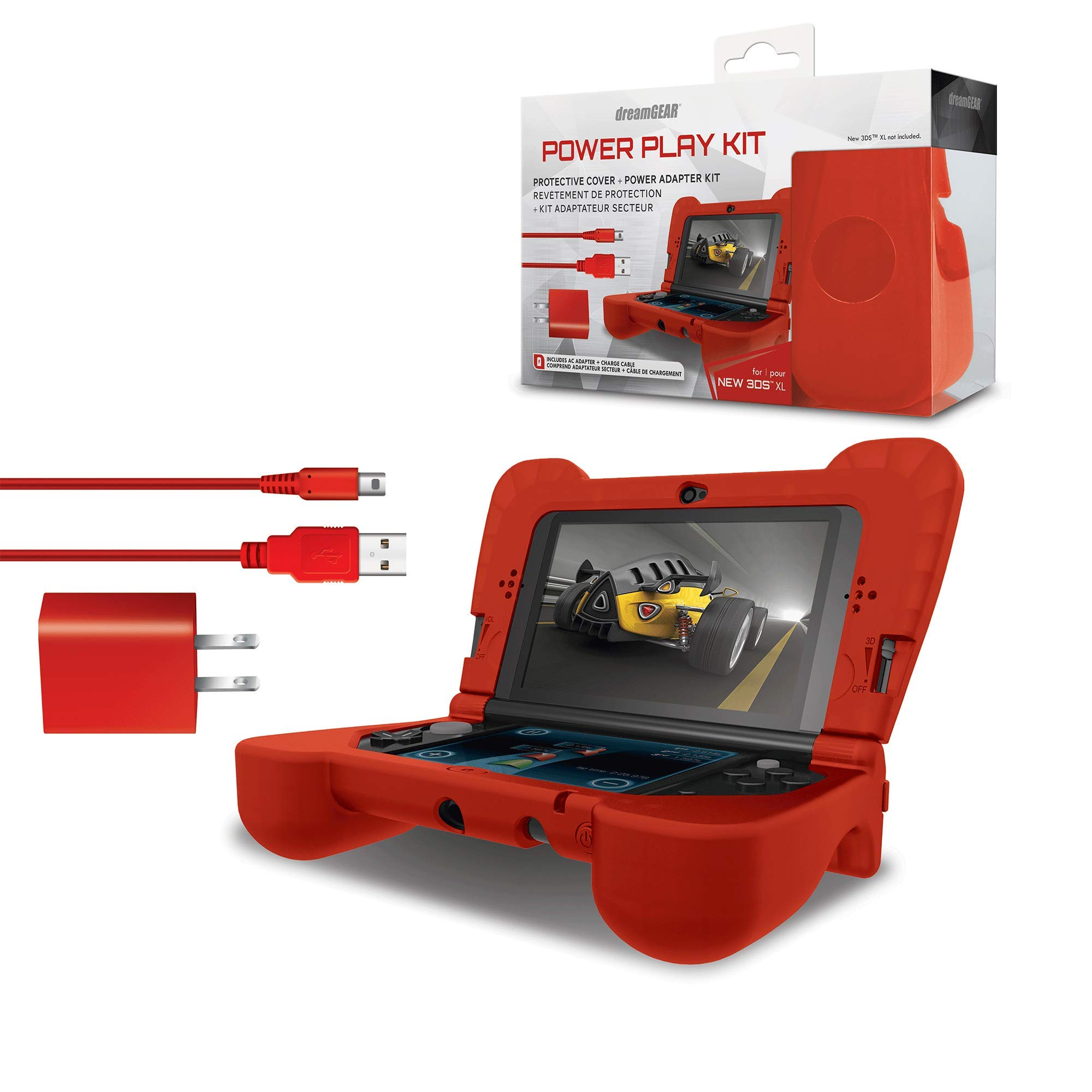 dreamGEAR DG3DSXL-2275 Power Play Kit Accessories: Compatible with Nintendo NEW 3DS XL, 3-In-1 Bundle, Soft Comfort Grip Case, Charging Cable, AC Adapter, Red