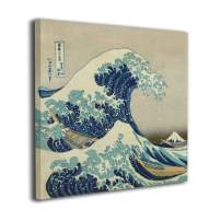 "The Great Wave Off Kanagawa Modern Salon Theme Abstract Painting Still Life Canvas Wall Art for Home Decor 20""x20"""