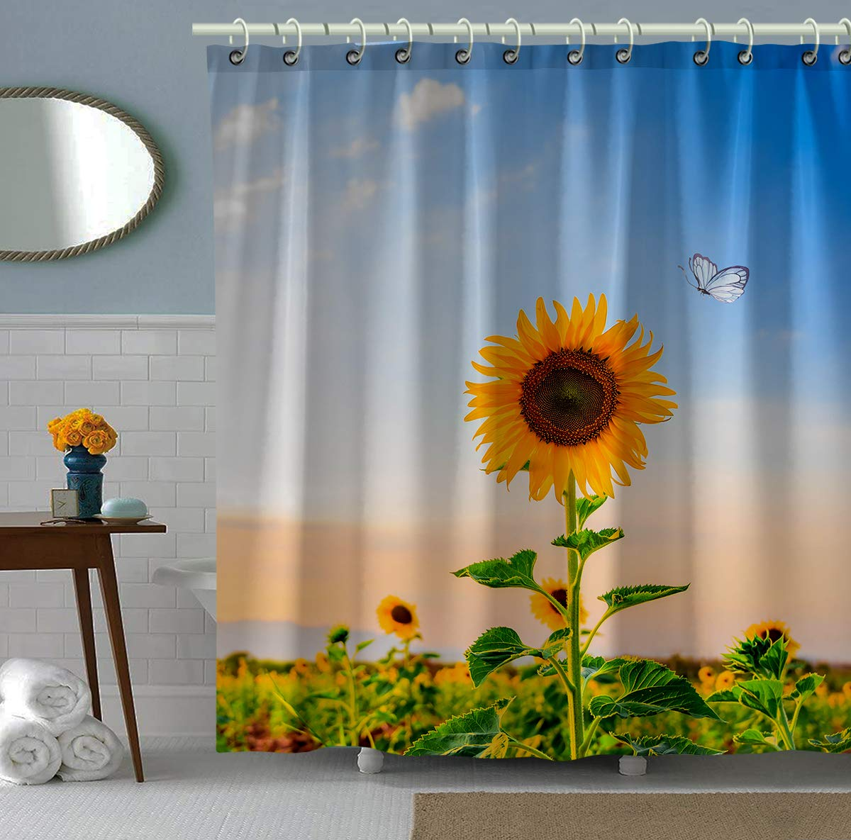 Bomehsoi Blue Sky Butterfly Sunshine Sunflower Shower Curtain 72x72 Inche with Hooks Curtain for Bathroom Waterproof Polyester Fabric