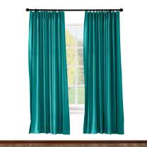 ChadMade Pinch Pleated Curtain 52W x 108L Inch Solid Thermal Insulated Blackout Patio Door Panel Drape for Traverse Rod and Track, Turquoise (1 Panel)