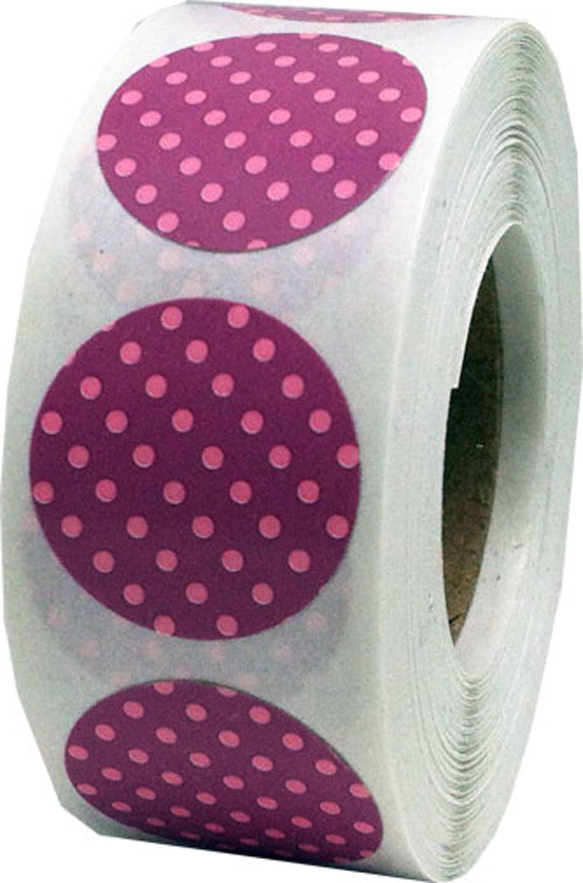 Dusty Rose with Pink Polka Dot Color Coding Labels for Organizing Inventory 0.75 Inch Round Circle Dots 500 Total Adhesive Stickers On A Roll