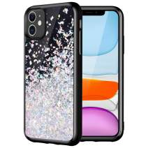 Caka Black Case for iPhone 11 Glitter Case Starry Night for Girls Women Liquid Bling Shining Sparkle Luxury Flowing Floating Soft TPU Cut Phone Case for iPhone 11 (6.1 inch)(2019)(Silver)