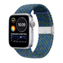 Bandiction Compatible with Apple Watch Bands 44mm 40mm 38mm 42mm, iWatch Bands for Women Men, Adjustable Braided Solo Loop with Buckle Elastic Sport Bands for iWatch SE Series 6/5/4/3/2/1