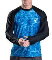 Aqua Design Rash Guard Men Long Sleeve Thumb Hole UPF 50+ Rashguard Swim Shirts