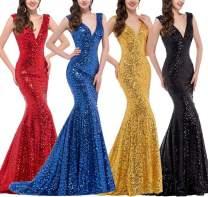PROMLINK Sequins Mermaid Prom Dress V Neck Formal Evening Gown Long,Red