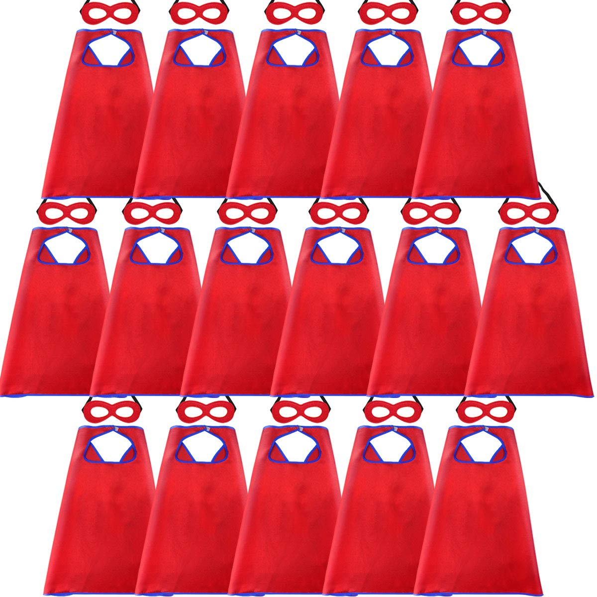 D.Q.Z Super Hero Capes for Kids Bulk with Masks Girls Boys Superhero Dress Up Party-16 Pack (Red)