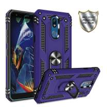 LG K40 Case,LG Solo LTE/ K12 Plus/ X4 2019 Cases with HD Screen Protector,Gritup 360 Degree Rotating Metal Ring Holder Kickstand Armor Anti-Scratch Bracket Cover Phone Case for LG K40 Purple