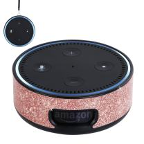 BENTOBEN Wall Mount Case for Amazon Echo Dot Alexa (Fit Echo Dot 2nd Generation) Glitter Sparkle Premium Vegan Leather Cover Sleeve Wall Mount Stand Guard Holder for Echo Dot 2nd Gen,Rose Gold