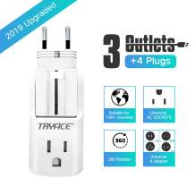 TryAce Travel Adapter, All in One Universal Travel Adaptor Wall AC Power Plug Adapter Wall Charger with 3 Outlets&4 Plugs(EU/UK/AU/US) for 190+Countries (White)