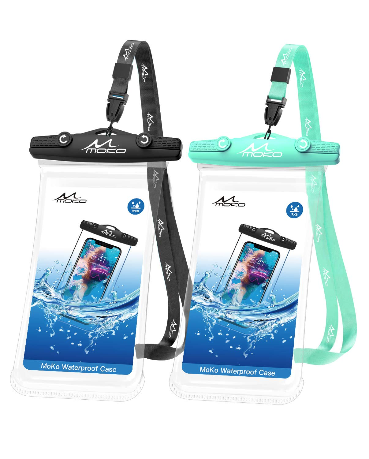 MoKo Waterproof Phone Pouch, [2 Pack] Underwater Cellphone Case Dry Bag with Lanyard Compatible with iPhone 11/11 Pro/11 Pro Max, X/Xs/Xr/Xs Max/8/7, Samsung S20/S10/S9/S8/S10e/Note 10, Black+Green