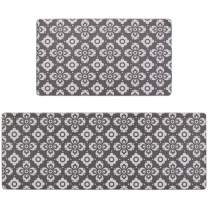"Seavish Anti Fatigue Kitchen Floor Mat Set, Grey Tribal 2 Piece 18"" x 29""+18"" x 59"" Non-Slip Rubber Backing Kitchen Rugs Set Waterproof Oil Proof PVC Leather Heavy Duty Standing Mats Runner Area Rug"