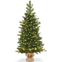 Goplus 3ft Artificial Christmas Tree Green Spruce Fir Tree with 50 LED Lights and Timer Function, 363 Tips Solid Cement Base Tabletop Decorations Full Tree Battery Operated Spruce Tree