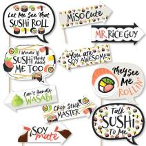 Funny Let's Roll - Sushi - Japanese Party Photo Booth Props Kit - 10 Piece