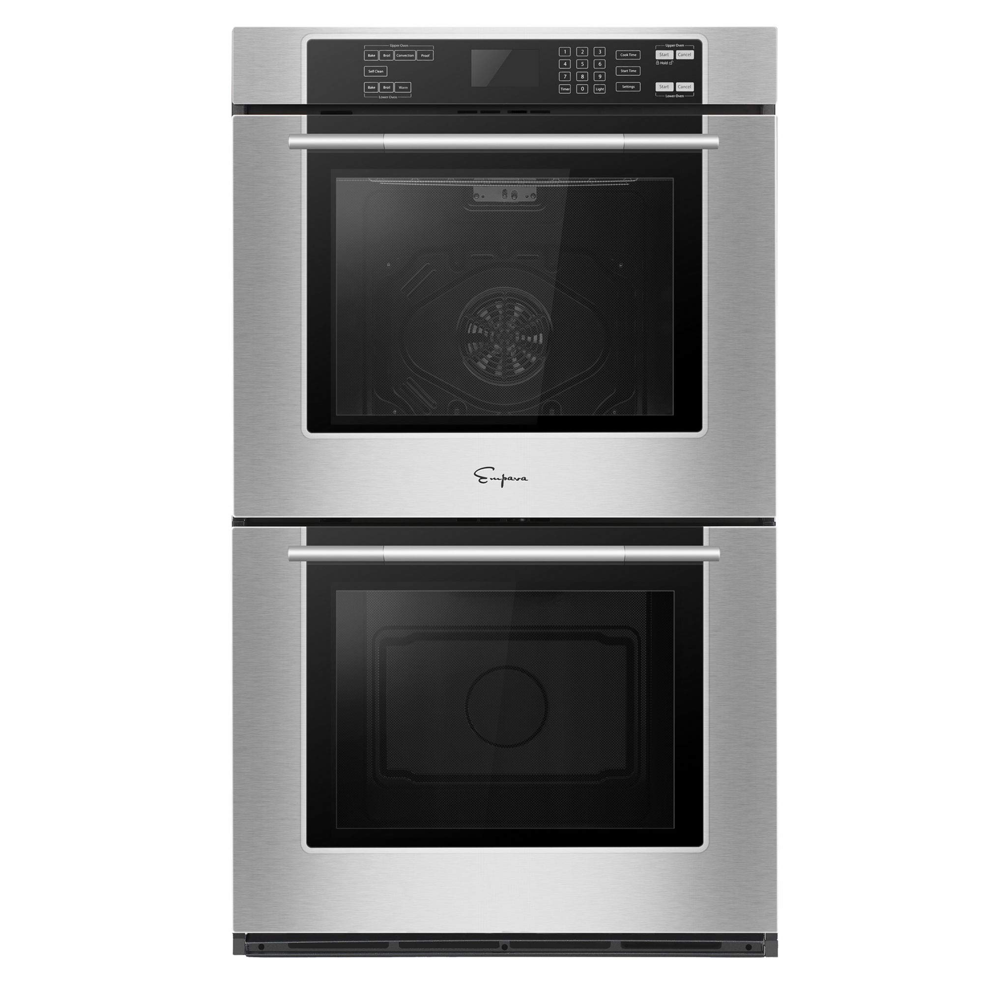 Empava 30 in 10 cu. ft. Total Capacity Electric Double Wall 4 Oven Racks Self-cleaning Convection Fan Touch Control in Stainless Steel Black