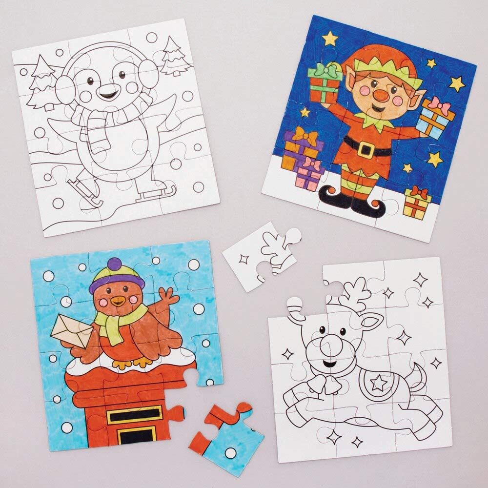Baker Ross Christmas Color in Puzzles, Festive Arts and Crafts (Pack of 8)
