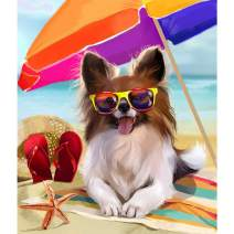 Ginfonr 5D DIY Diamond Painting Art Beach Sunglasses Dog Full Drill by Number Kits, Pet Holiday Paint with Diamonds Puppy Animal Craft Rhinestone Cross Stitch Decor (12x16 inch)