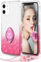 OCYCLONE Glitter iPhone 11 Case, Full Body Luxury Cute Bling Diamond Rhinestone with Ring Grip Kickstand Soft Thin Girly Protective Phone Case for Women Girl iPhone 11 Case [6.1 inch], Gradient Pink