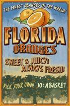 Florida - Orange Grove Vintage Sign (24x36 Giclee Gallery Print, Wall Decor Travel Poster)