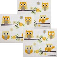 Owls in Branches Set of 3 Each Swedish Dishcloths | ECO Friendly Absorbent Cleaning Cloth | Reusable Cleaning Wipes