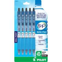 PILOT B2P - Bottle to Pen Refillable & Retractable Ball Point Pen Made From Recycled Bottles, Medium Point, Black Ink, 5-Pack (32812)