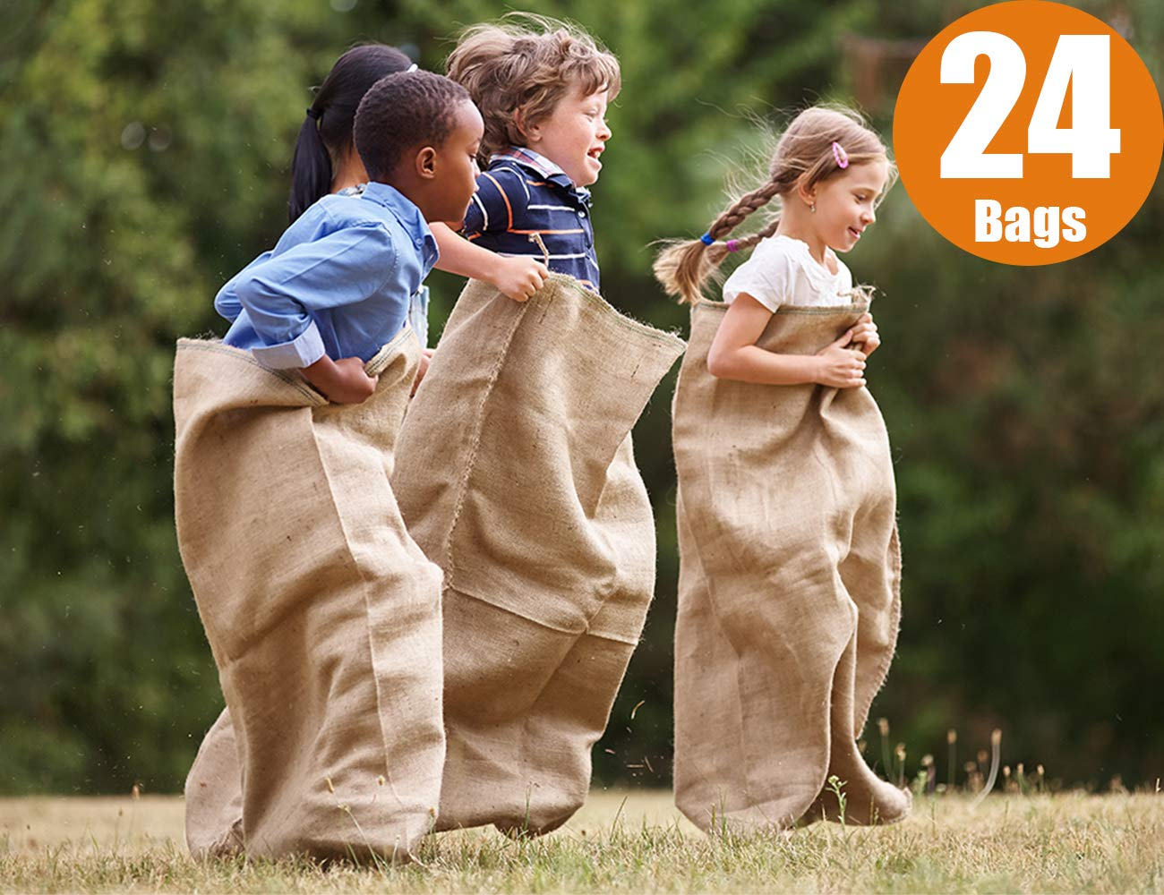 "ToysOpoly #1 Premium Burlap Potato Sack Race Bags 24"" x 40"" (Pack of 24) - of Sturdy Rugged, 100% Natural Eco-Friendly Jute , Perfect Birthday Party Game for Kids & Adults"