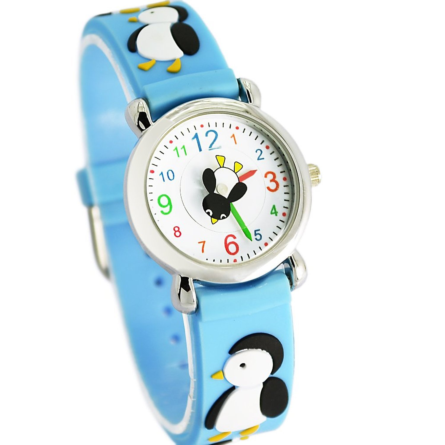 Jewtme Kids Time Teacher Watches 3D Cute Cartoon Silicone Children Toddler Wrist Watches Gift for 3-7 Year Old Boys Girls Little Child (Penguin Blue)