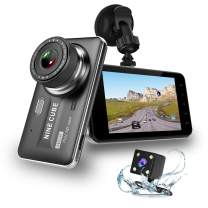 """Dual Dash Cam Front and Rear, NINE CUBE 1080p HD Dashboard Recorder,Car Dash Camera 4"""" IPS Screen, 170° Super Wide Angle, G Sensor, Loop Recording, Parking Monitor, Motion Detection"""