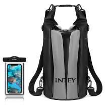 INTEY Dry Bag, 30L Backpack Dry Sack, 100% Waterproof Floating Storage Bag for Kayaking, Camping, Fishing,Traveling,Rafting,Skiing, Hiking and Water Sports, Black