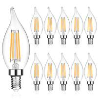 LANGREE E12 LED Candelabra Base Bulbs 60W Equivalent, 5W LED Candle Light Bulbs, LED Chandelier Light Bulbs, Flame Tip, Non-Dimmable, 2700K Soft White, 550LM - Pack of 10