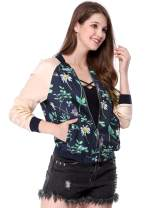 Allegra K Women's Floral Jackets Contrast Zip Up Light Weight Bomber Jacket