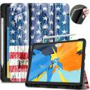 """VORI Case for iPad Pro 11 Inch 2018 with Pencil Holder, Soft TPU Back Cover and Trifold Stand Protective Case with Auto Sleep/Wake for iPad Pro 11"""", Support 2nd Gen iPad Pencil Charging,American Flag"""