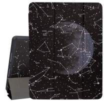 Hepix iPad 10.2 2019 Case, Constellation Black Astrology Moon iPad 7th Gen Case with Pencil Holder, Trifold Slim Stand Back Protective Smart Shockproof Cover Auto Sleep/Wake for A2197 A2198 A2200