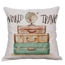 YeeJu Vintage Decorative Throw Pillow Covers Cotton Linen Cushion Covers Square Outdoor Couch Safa Home Pillow Covers 18x18 Inch