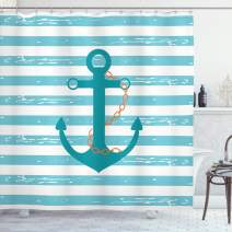 """Ambesonne Teal Shower Curtain, Ship Anchor Chain Marine Life Inspired with Lines Background Ocean Sailing, Cloth Fabric Bathroom Decor Set with Hooks, 75"""" Long, Turquoise White"""